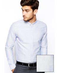 Asos Smart Shirt in Long Sleeve with Oxford Stripe - Lyst