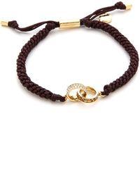 Michael Kors Pave Baguette Link Charm Braided Silk Cord Bracelet Goldchocolatetopaz - Lyst