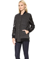 Current/Elliott The Stanwood Bomber Jacket Ralston with Leather - Lyst