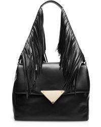 Sara Battaglia Teresa Large Fringed Leather Shoulder Bag - Lyst