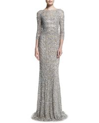 Theia 3/4-sleeve Beaded Column Gown - Lyst