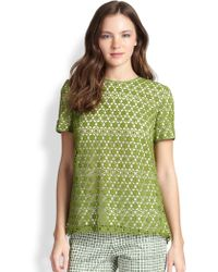 Tory Burch Green Linda Top - Lyst