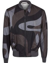 Alexander McQueen Black Abstract Print Silk Bomber Jacket - Lyst