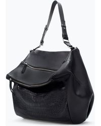 Zara Zip Applique Leather Bucket Bag - Lyst