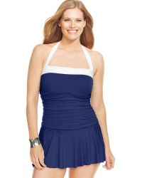 Lauren by Ralph Lauren Plus Size Colorblocked Halter Swimdress - Lyst