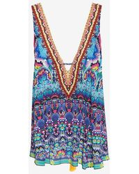 Camilla Paisley Drawstring Vneck Bejeweled Dress - Lyst