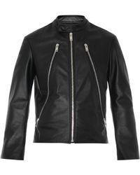 Maison Margiela Zip-Feature Leather Jacket - Lyst