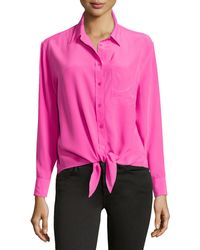Equipment Tie-Front Blouse - Lyst