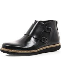 River Island Black Dual Strap Boots - Lyst