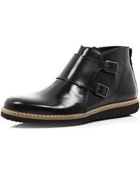 River Island Black Dual Strap Boots - Lyst