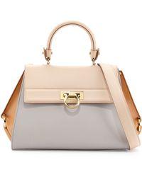 Ferragamo Sofia Colorblock Leather Satchel Bag - Lyst