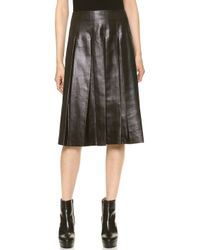 Tess Giberson Coated Pleated Skirt Black - Lyst