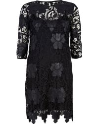 River Island Black Lace Shift Dress - Lyst