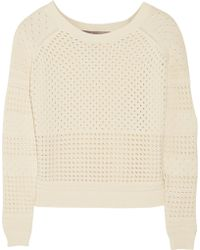 Halston Heritage Open-knit Cotton Sweater - Lyst