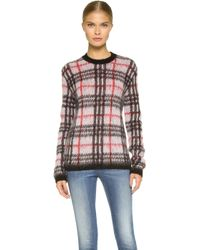 Versus  Long Sleeve Plaid Sweater - White/Black/Red red - Lyst