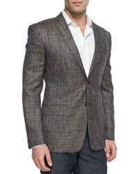 Versace Cityfit Windowpane Jacket Tan - Lyst
