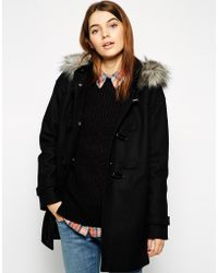 Asos Duffle Coat With Clean Detail Faux Fur Hood - Lyst