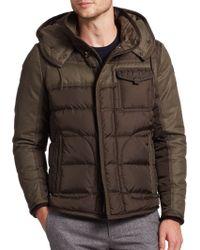 Moncler Ryan Mixed-media Puffer Jacket green - Lyst