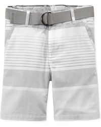 Calvin Klein Little Boys' Horizontal Stripe Belted Shorts gray - Lyst