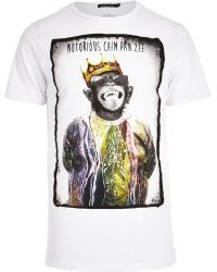 River Island White Friend Or Faux Notorious Tshirt - Lyst