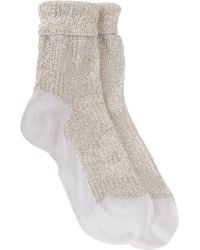 Saint Laurent - Embellished Foldover Ankle Socks-Colorless - Lyst