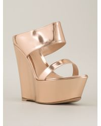 Gianvito Rossi Metallic Wedge Sandals - Lyst