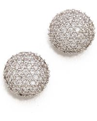Tai - Crystal Button Earrings Clear - Lyst