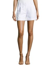 Milly Stella Cuffed Linen-Blend Shorts - Lyst