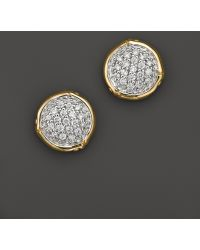 John Hardy Bamboo 18k Yellow Gold Diamond Pave Small Round Stud Earrings - Lyst