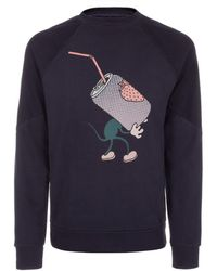 Paul Smith Navy Mouse Print Loopback-Cotton Sweatshirt - Lyst