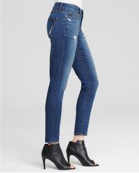 Yummie By Heather Thomson - Distressed Skinny Ankle Jeans In Medium Indigo Destruction - Lyst
