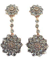 Oscar de la Renta Crystallized Flower Double Drop Earrings - Lyst