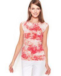 Calvin Klein Cap-Sleeve Printed Ruched Top pink - Lyst