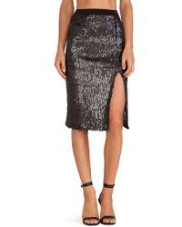 Joa Black Sequin Skirt - Lyst