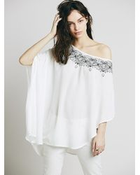 Free People Embroidered One Shoulder Tunic - Lyst