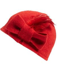 Helene Berman | Bow & Feather Wool Blend Cap | Lyst