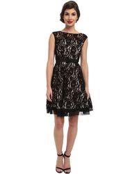 Eliza J Cap Sleeve Lace Fit and Flare - Lyst
