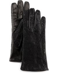 Grandoe Lace-Overlay Leather Gloves - Lyst