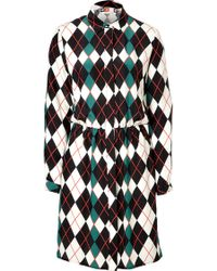 MSGM Silk Argyle Shirtdress - Lyst