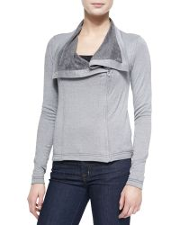 Three Dots Asymmetric Zip Jacket W/ Relaxed Collar - Lyst