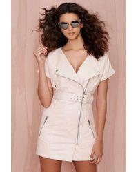 Nasty Gal Regent Leather Moto Dress - Light Pink - Lyst