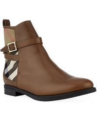 Burberry Richardson House Check Leather Ankle Boots - Lyst