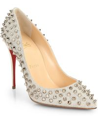 Christian Louboutin Follies Spiked Glitter Pumps - Lyst