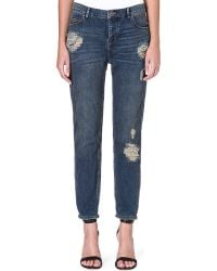 Free People Boyfriend Distressed Midrise Jeans Lotus Wash - Lyst