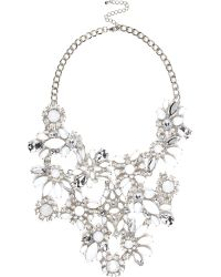 River Island Silver Tone Gemstone Statement Necklace - Lyst