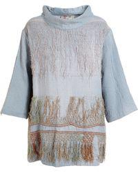 By Walid Tunic Collar Silk Dress - Lyst