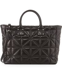 Milly Avery Quilted Lambskin Tote Bag Black - Lyst
