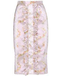 Miu Miu Silk Blend Skirt - Lyst