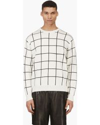T By Alexander Wang Ivory Grid Check Knit Sweater - Lyst