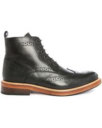 Selected | Brook Pr Black Leather Boots | Lyst